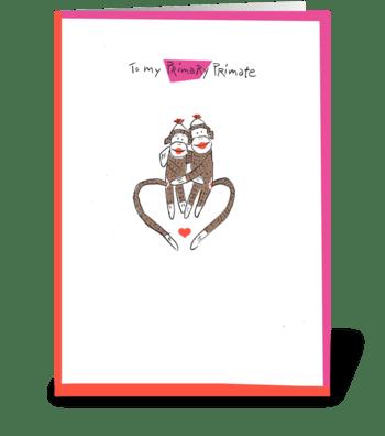 Wanna monkey around? greeting card