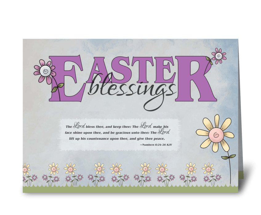 Easter Blessings flowers & bible verse  greeting card