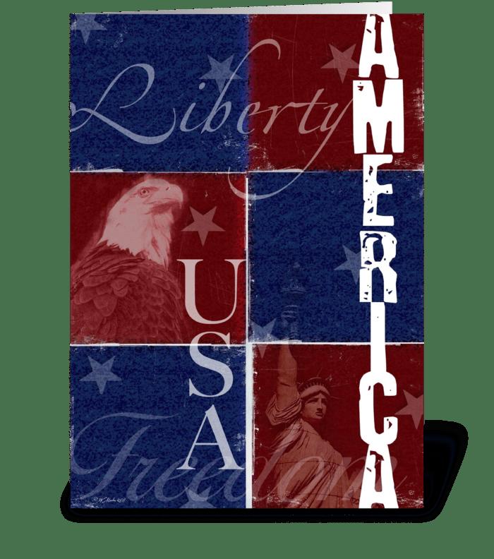 Patriotic Patchwork Greeting Card greeting card