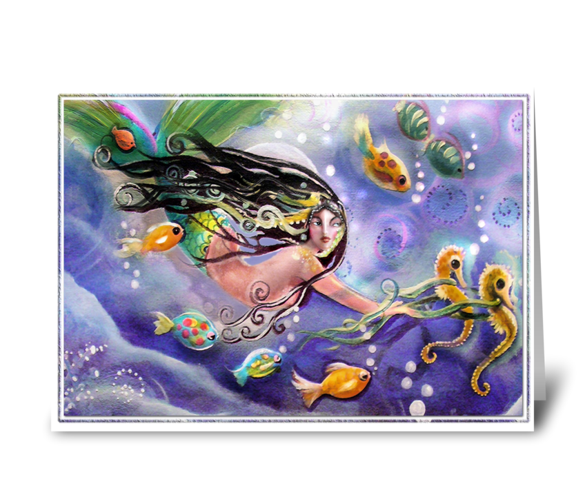 Drifting Mermaid, Hello  greeting card