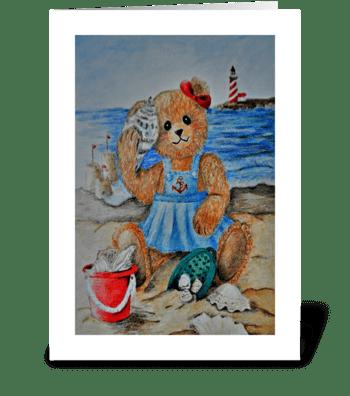 Summer Teddy greeting card