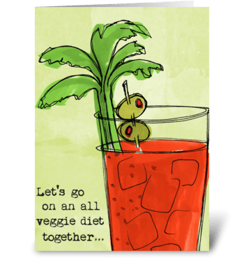 Diet Drinks Veggie greeting card