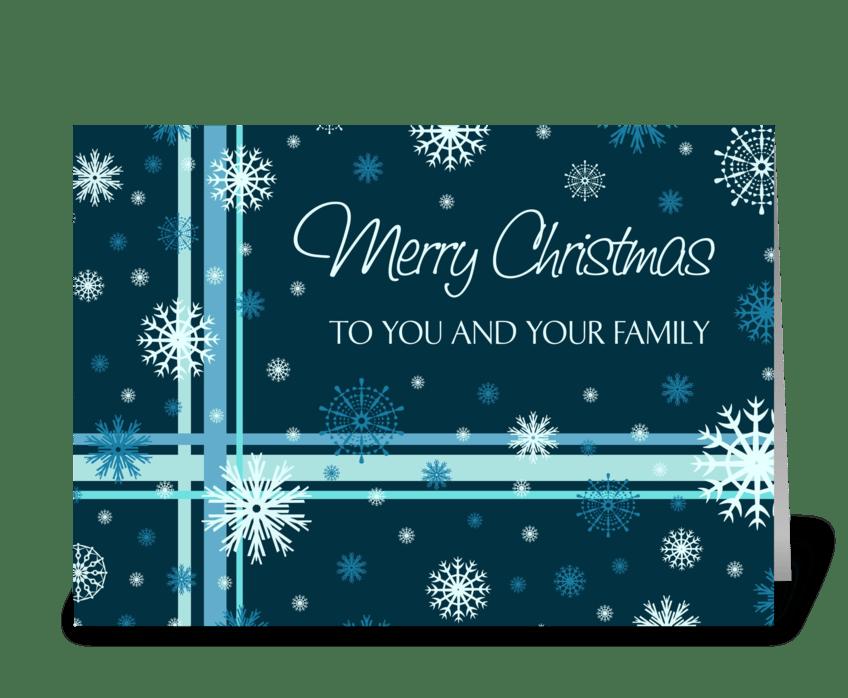 Merry christmas teal white snowflakes send this greeting card merry christmas teal white snowflakes greeting card m4hsunfo
