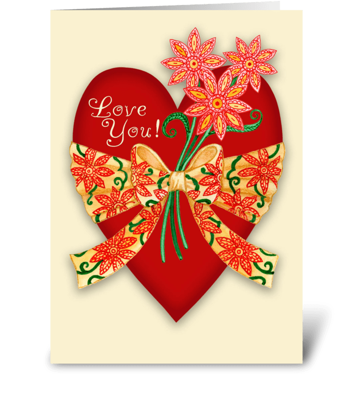 """""""Love You!"""" Valentine Red Heart greeting card"""