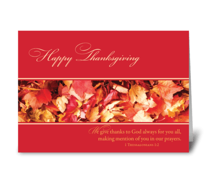 Thanksgiving Leaves, Religious greeting card