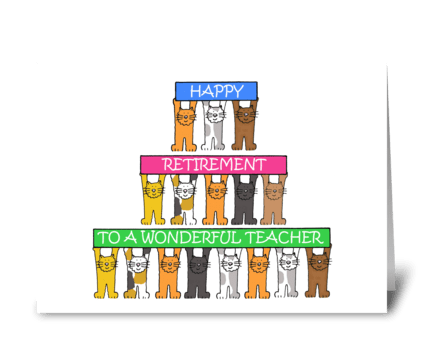 Teacher Happy Retirement Cartoon Cats greeting card