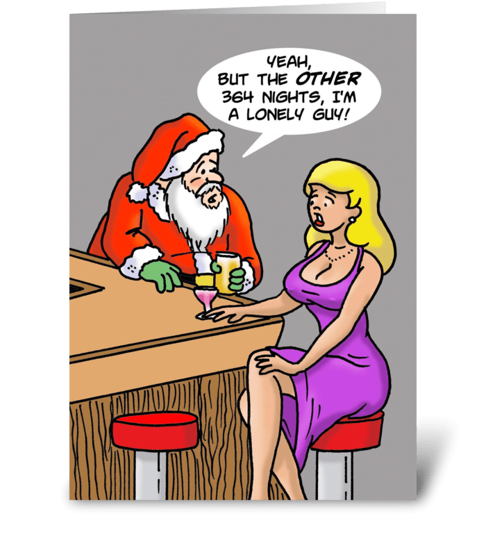 Santa Picking Up Woman In A Bar greeting card
