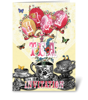 Candy Card BALLOONS High Tea greeting card