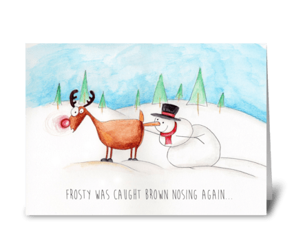 Rudolph and Frosty greeting card