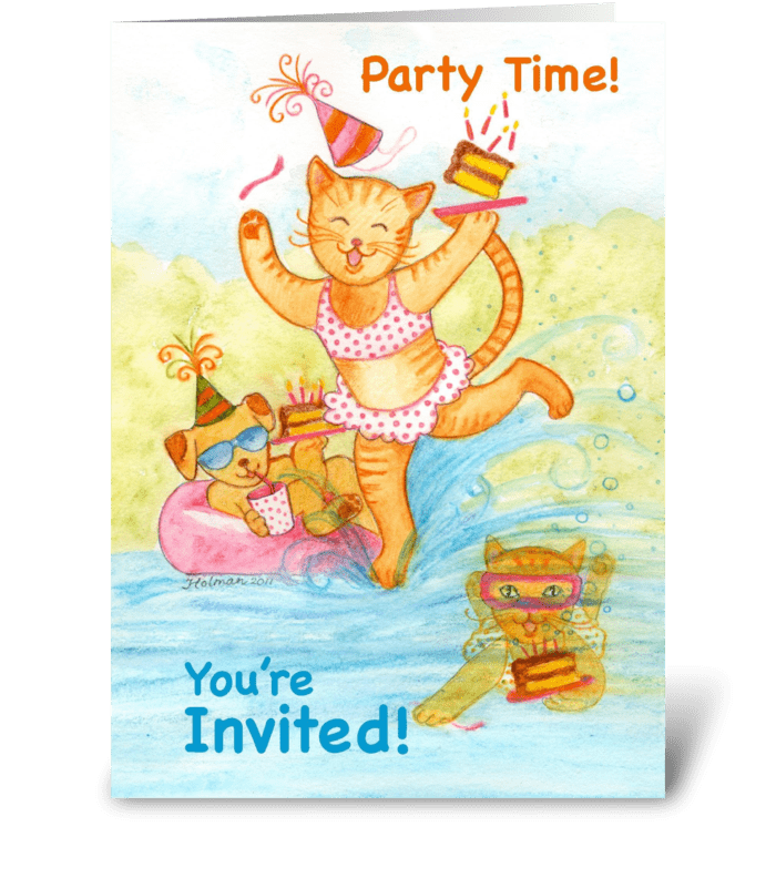 Cat Pool Party Birthday Invitation greeting card