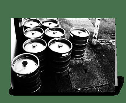 Beer Kegs greeting card