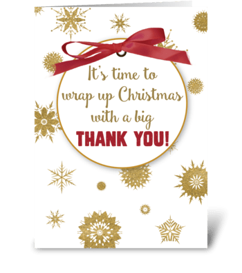 Thank You For Christmas Gift, Gold  greeting card