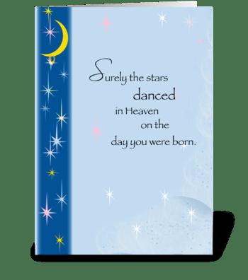 Stars in Heaven, Birthday greeting card