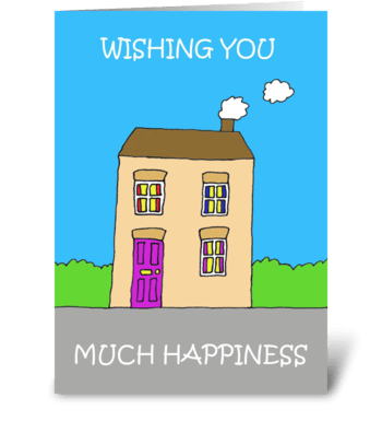 Happy New Home cute house. greeting card