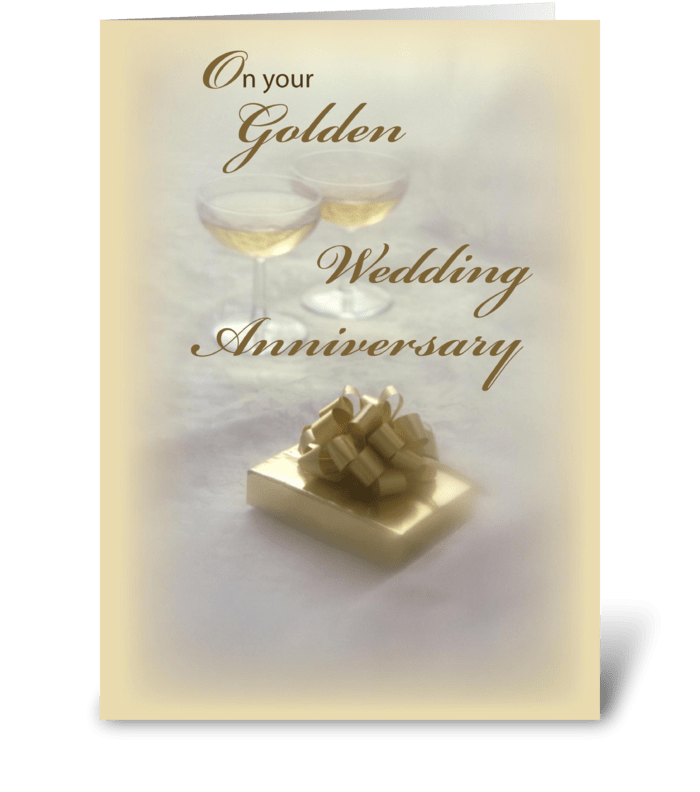 Golden wedding anniversary send this greeting card designed by golden wedding anniversary greeting card m4hsunfo