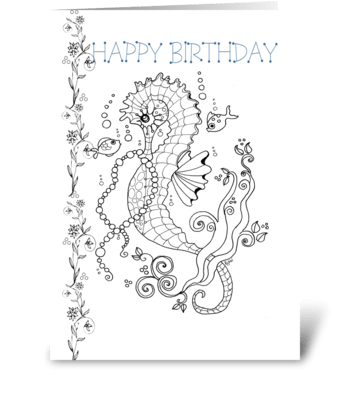 Color-Me Sea Horse, Birthday ART greeting card
