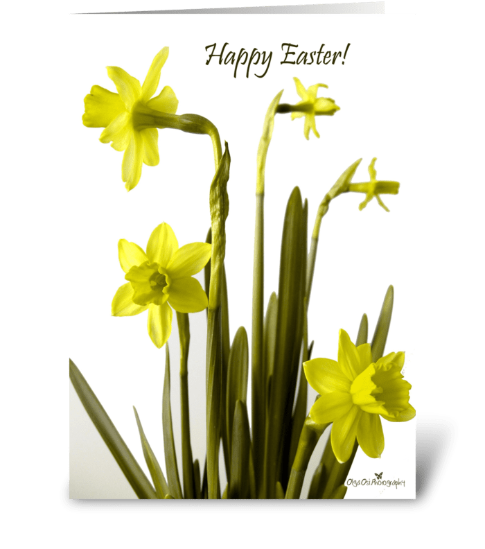 Happy Easter with daffodils greeting card