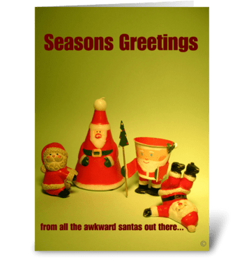 Awkward santas greeting card
