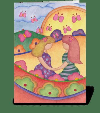 Girl Best Friends greeting card