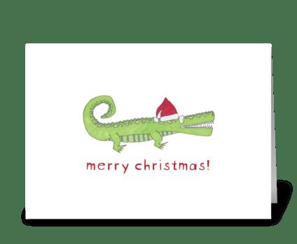 santa gator greeting card