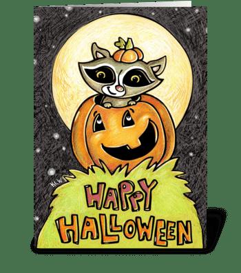Raccoon Moon  greeting card