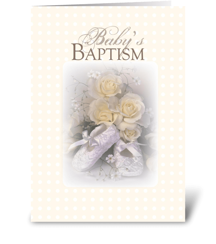 3429 Baby Christening Yellow, Roses greeting card