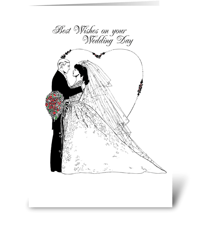 Wedding Wishes Black And White Greeting Card