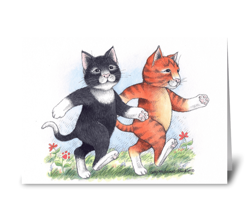 Walking Cat Buddies Friendship #65 greeting card