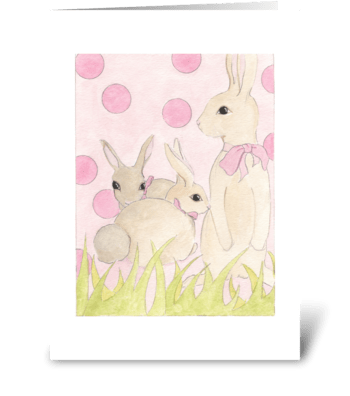 Polka Dot Bunnies 2 greeting card
