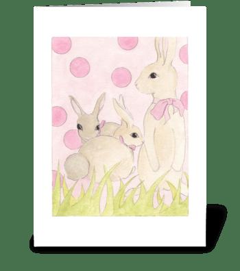 Polka Dot Bunnies 2 greeting card
