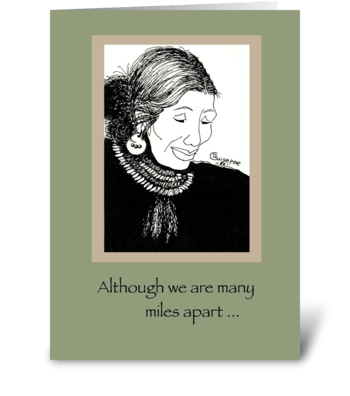 Miles apart greeting card