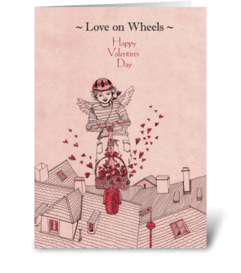 Valentine's-Day_drawing-love-on-wheels greeting card