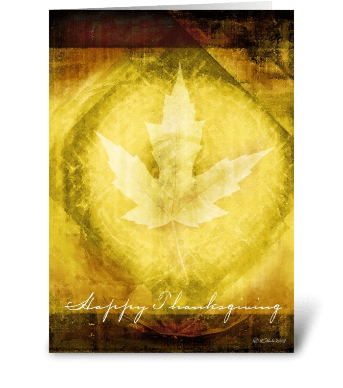 Glowing Leaf Thanksgiving Card greeting card