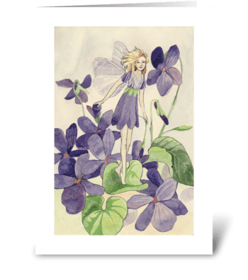 Floral_violet-fairy greeting card