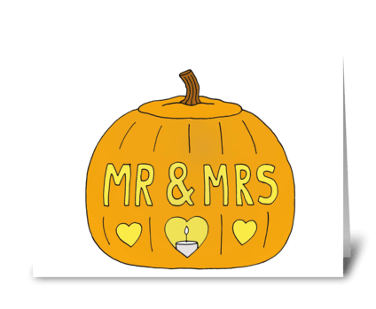Romantic Halloween Mr and Mrs Pumpkin greeting card