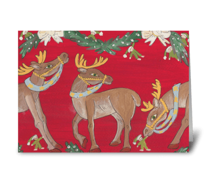 3 reindeer greeting card