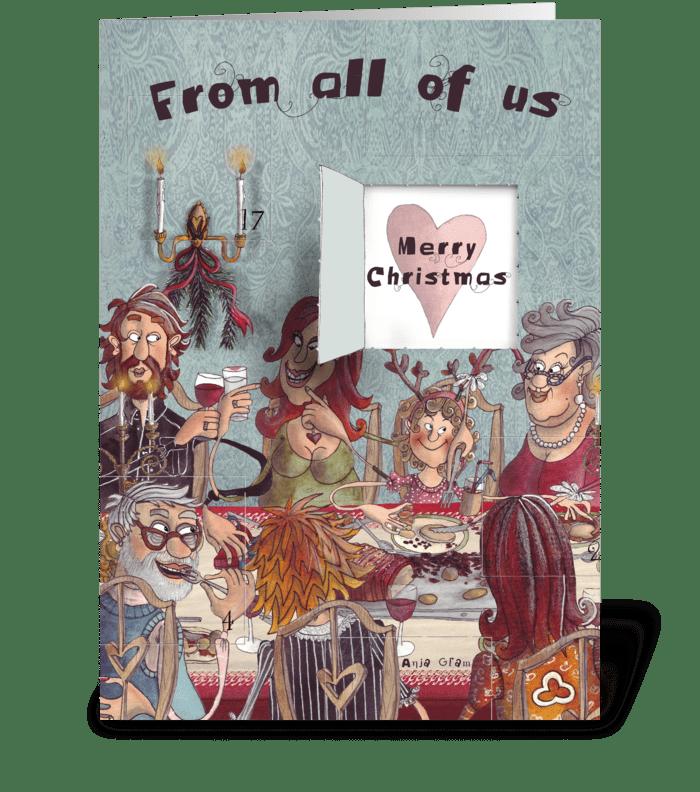 The Christmas dinner greeting card