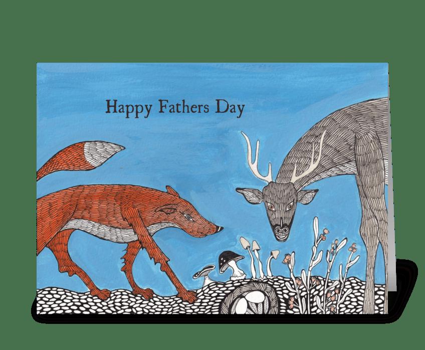 fox and deer greeting card