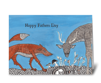 fox and deer greeting card
