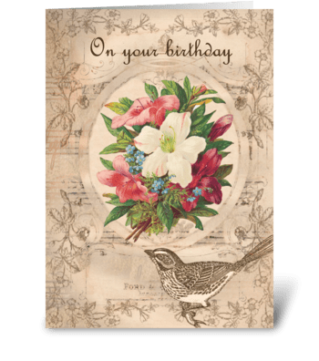 Pretty Flowers & Bird greeting card
