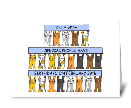 February 29th Leap Year Birthday Cats greeting card