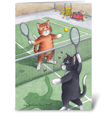 Tennis Playing Cats Happy Birthday #56 greeting card