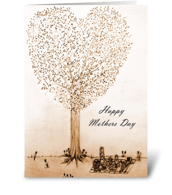 Mothers Day picnic greeting card