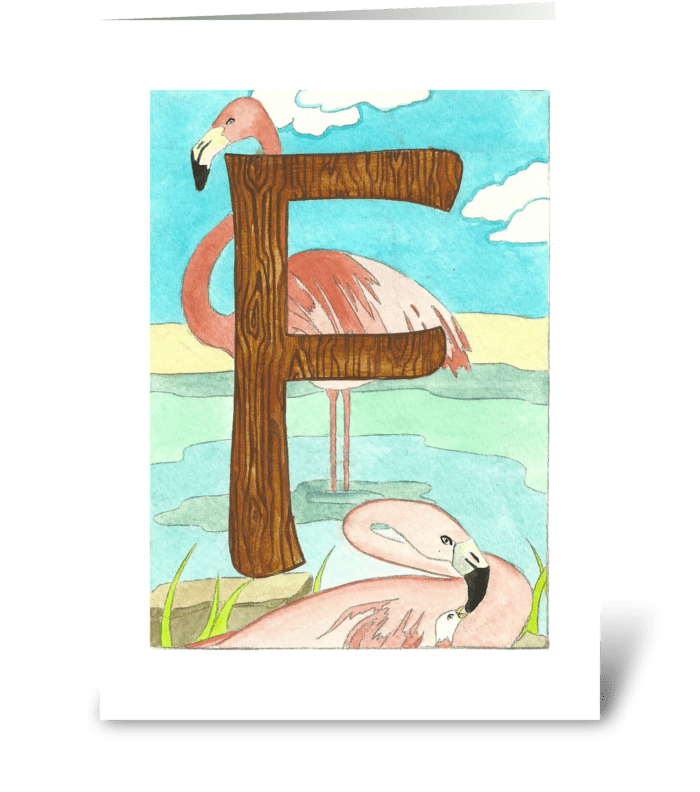 F for Flamingo greeting card