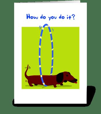 Dachshund Hoola Hoop Birthday greeting card