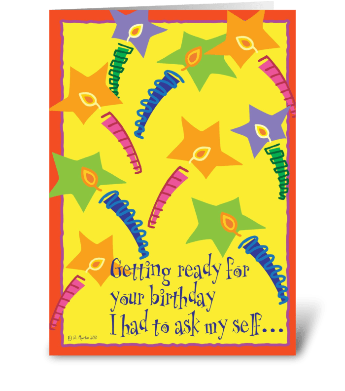 To many Candles Birthday Card greeting card
