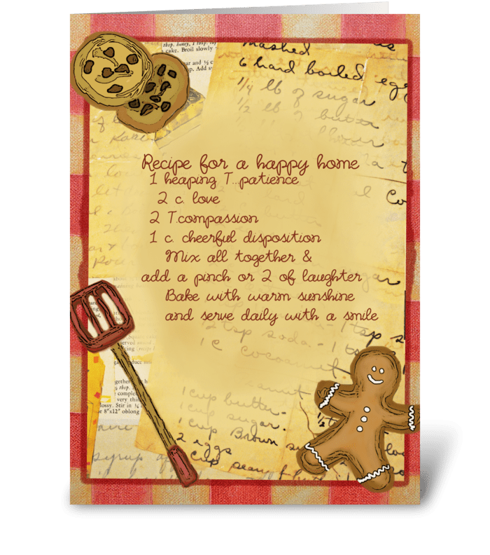 Recipe for a happy home greeting card