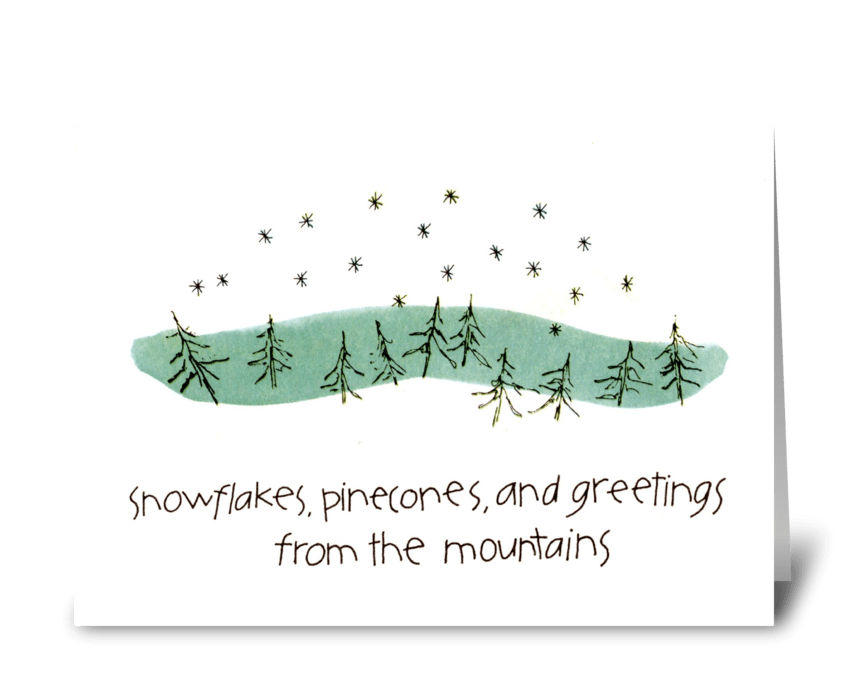 snowflakes, pinecones, and greetings greeting card