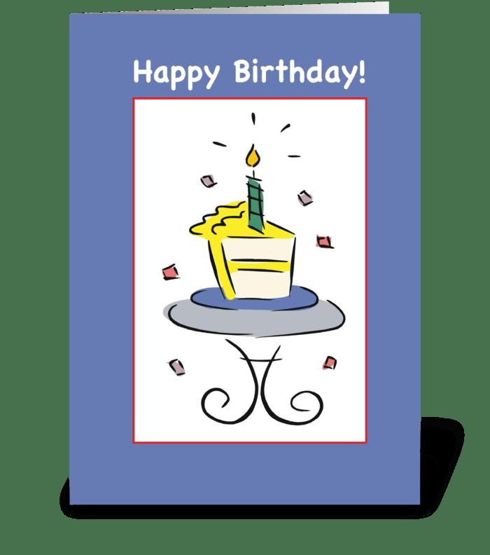 Birthday Cake Slice, Blue greeting card