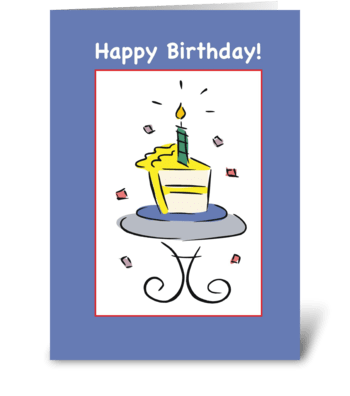 Birthday Cake Slice, Blue greeting card